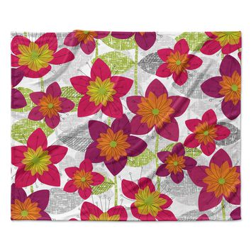 "Jacqueline Milton ""Star Flower"" Floral Pink Fleece Throw Blanket"