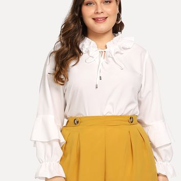 Plus Size White Tied Ruffle Trim Solid Blouse