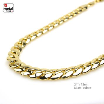 Jewelry Kay style Men's Heavy 12 mm Solid 14K Gold Plated Miami Cuban Link Chain Necklace 24""