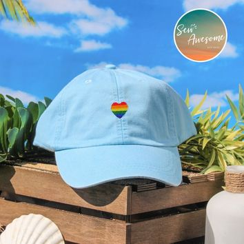 Pride Heart Dad Hat, LGBT Baseball Cap, Custom Embroidery, Best Friend Gift, Personalized, Embroidered Hat