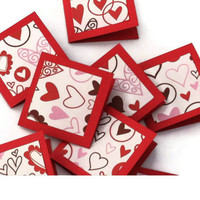 Red Hearts Valentine's Day Love Notes, Mini Cards Set of 8