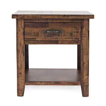 Wooden Nightstand With Drawer And Bottom Shelf, Brown - BM183553