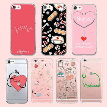Doctor Nurse Heart Beat Phone Case Coque for iPhone 6 7 5S 6plus for Samsung A J5 Soft Silicone Clear Transparent TPU Back Cover