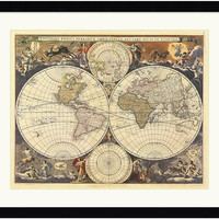 "0-018038>39x33"" Ria Visscher New World Map 17th Century Framed Print"