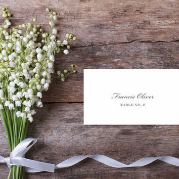 Printable Wedding Place Card - Francis Oliver - Traditional - Script - Elegant - mailmerge