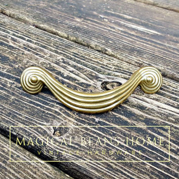 Gold Drawer Pulls Gold Cabinet Pull Art Deco Dresser Pulls Spiral Scroll Mid Century Modern Furniture Pulls Decorative Vintage Drawer Pulls