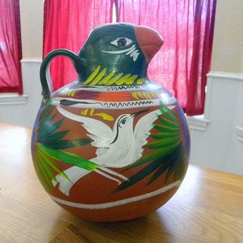 Mexican bird pitcher vintage pottery home decor