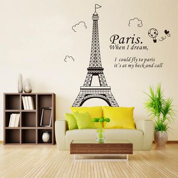 3D Paris Eiffel Tower DIY Removable Wall Sticker Vinyl Art Decal Mural Wallpaper Decor Home Decoration Kids Room Parlor Decor BA