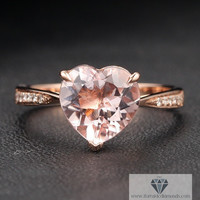 Heart Shaped Morganite Ring Diamond Pave Sides Rose Gold