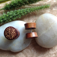 """Fake Gauge, Plugs, """"Coco-Iron"""" Handcrafted, Ironwood, Coconut Wood Inlay, Natural, Tribal"""