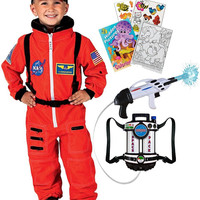 Aeromax Jr. Astronaut Suit Orange size 2-3 with Cap, Space Pack & Activity Book
