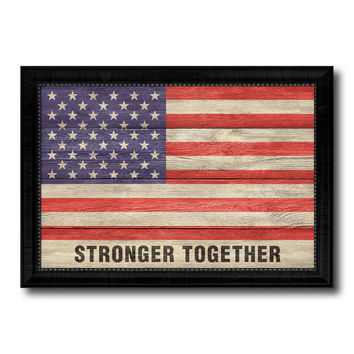 Stronger Together USA Flag Texture Canvas Print with Black Picture Frame Gift Ideas Home Decor Wall Art