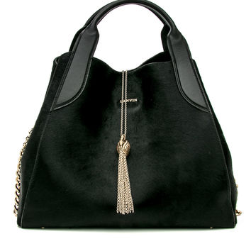 Black Small Lambskin and Pony Hair Tote