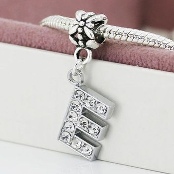 A-R Silver Plated Bead Charm letter of the alphabet With Crystal Pendant Beads Fit pan