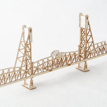 3D Model Kit of the Hawthorne Bridge Portland Oregon - Laser Cut