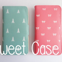 SALE 80-20%OFF: Super Cute Candy Color Leather Case for iPhone 5  protective cases. Cover. Girly. kawaii / 2 colors to pick