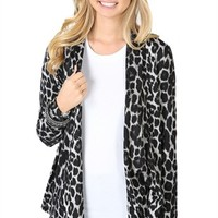 Long Sleeve Cheetah Print Cardigan with Smocked Back