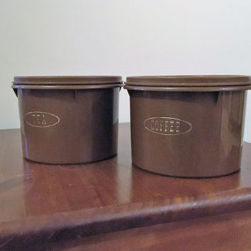 Vintage 1970s Chocolate Brown Tupperware Tea and Coffee Canisters / Pair of Retro Canisters and Lids