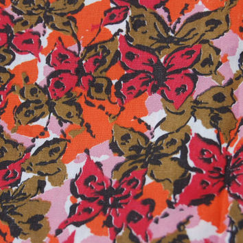 "Vintage 60s Floral Butterflies Fabric Cotton 2.5 yds. x 35"" wide"
