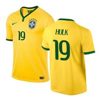 Brazil Nike World 2014 Soccer Mens Jersey Team color -- Hulk # 19