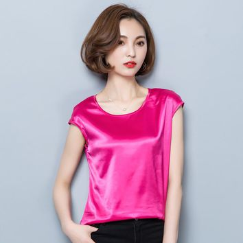 BIBOYAMALL Women Blouses 2017 Casual OL Silk Blouse Loose Sleeveless Work Wear Blusas Feminina Tops Shirts Plus Size Pink Red