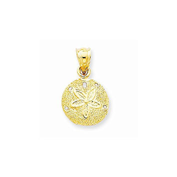 14k Solid Polished Laser-Cut Sand Dollar Pendant, Best Quality Free Gift Box Satisfaction Guaranteed