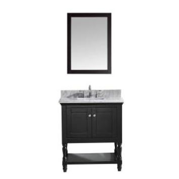 Virtu USA Julianna 32 in. Single Square Basin Vanity in Espresso with Marble Vanity Top in White and Mirror MS-3132-WMSQ-ES at The Home Depot - Mobile