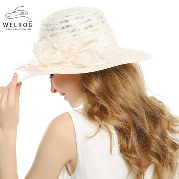 WELROG Lady Derby Dress Church Cloche Hat Bow Bucket Wedding Bowler Hats Wide Brim UV Protection Summer Beach Visor Cap