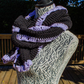 Oversized Black and Purple Crocheted Scarf