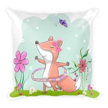 Boho Baby Fox Square Pillow, Nursery Decor