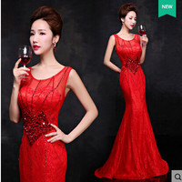 Long Red Prom Dresses 2017 Evening Party Dinner Dresses Fish Tail Handmade Beading Sexy Lace Backless Abendkleid Robe De Soiree