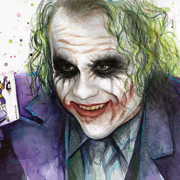 The Joker, Batman Dark Knight Art Print of Watercolor Painting, Comics, Villain Portrait