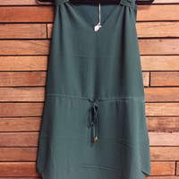 V Neck Chiffon Drawstring Tank Dress Kale Green