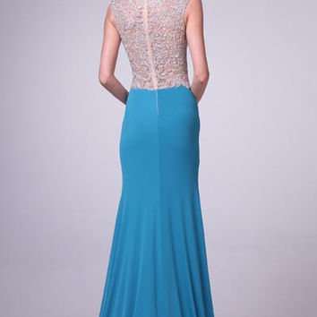 PRIMA 17-8771 Jeweled Sheer Illusion Top Jersey Prom Dress Evening Gown