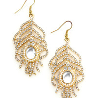 OLIVIA WELLES Feather Crystal Earrings