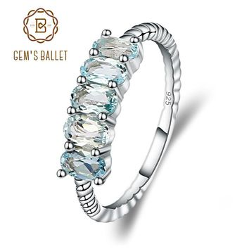 GEM'S BALLET Classic 1.47ct Oval Natural Sky Blue Topaz Stackable Finger Ring For Women Wedding 925 Sterling Silver Fine Jewelry