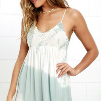Love You a Yacht Sage Green Tie-Dye Dress