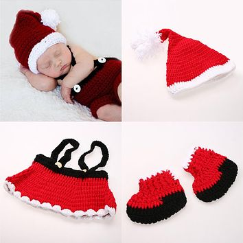 3pcs/set Newborn Photography Props Christmas Baby Santa Claus Hat + Pants Shoes Red Crochet Knitted Costume Set