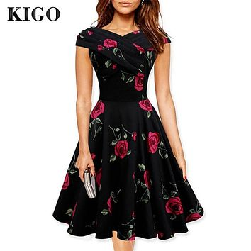 Women Summer Floral Dress 2016 Vestidos 1950s Vintage Dresses Audrey Hepurn Retro 50s Dress Casual Woman Rockabilly Dress Z5