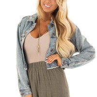 Light Wash Button Up Cropped Denim Jacket