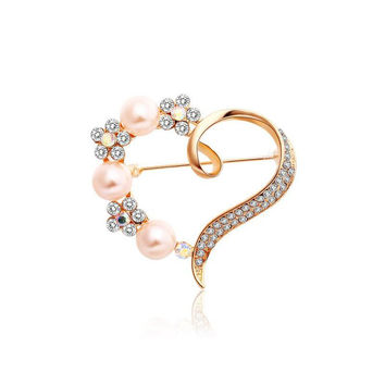 Heart Imitation Pearl Flower Crystal Rhinestone Pin Brooch
