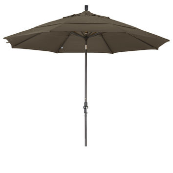 11 Foot Sunbrella 4A Fabric Aluminum Crank Lift Collar Tilt Patio Umbrella with Bronze Pole