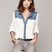 Free People Long Sleeve Denim Yoke Hi Low Top