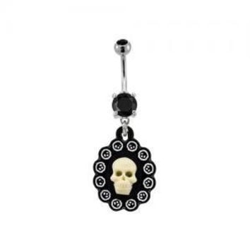 Black and White Skull Cameo Belly Ring
