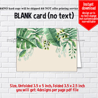 Instant Download, blank Card, watercolor leaves #1110 , food tent Card, place card, 3.5x2.5inch printable , non-editable NOT CUSTOMIZABLE