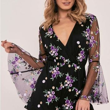 SONYA BLACK FLORAL EMBROIDERED WRAP FRONT PLAYSUIT