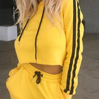 Yellow Striped Pockets 2-in-1 Drawstring Waist Fashion Long Jumpsuit