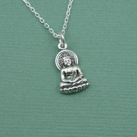 Tiny Buddha Necklace - sterling silver buddhist pendant jewelry - zen gift