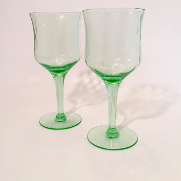 Green Depression Glass Goblets, Pair of Green Wine Glasses, Vintage Stemware, Optic Wine Glasses
