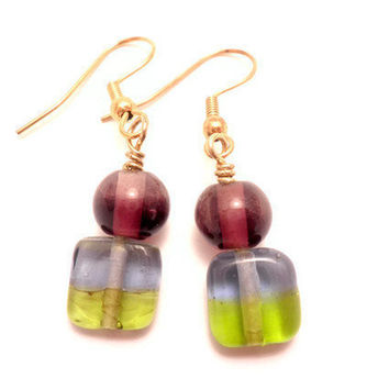 Earrings with Purple and Green Glass by Septagram on Etsy